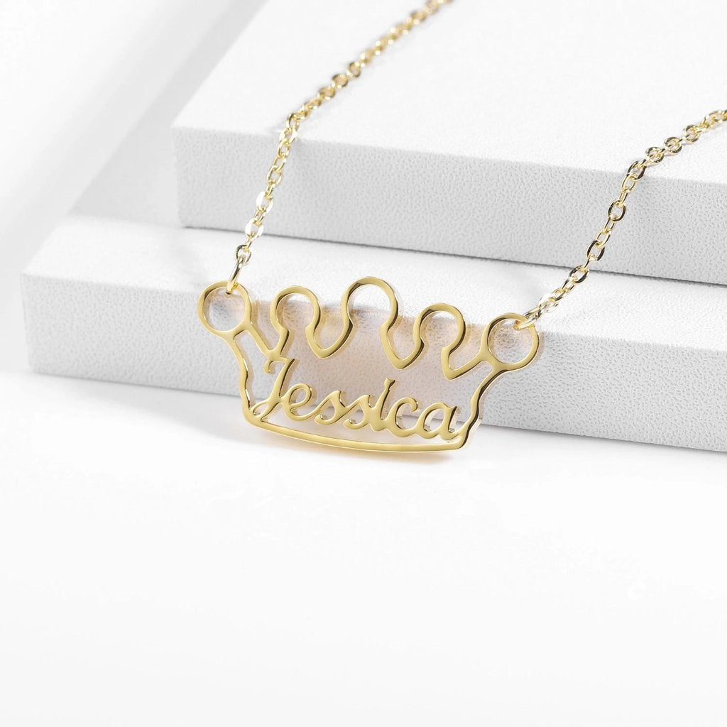 Encoreusa Custom text Gold The Queen's Necklace
