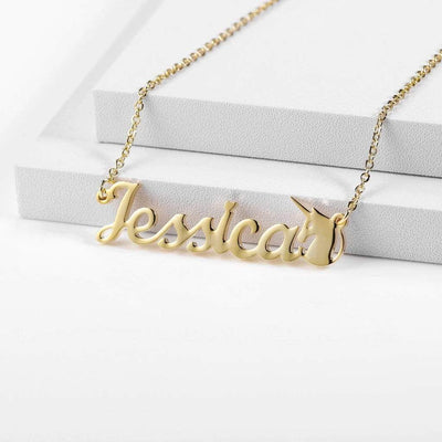 Encoreusa Custom text Rose Gold Unicorn Name Necklace