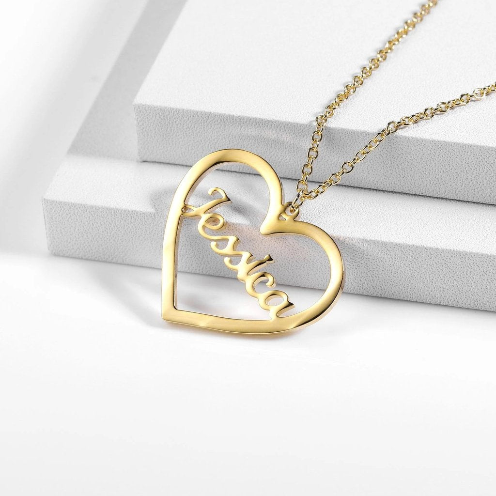 Encoreusa Custom text Gold With Love Necklace