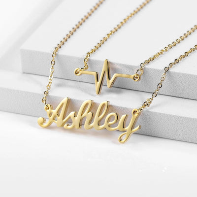 Encoreusa Custom text Rose Gold You're the Beat to My Heart Necklace