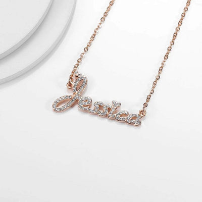 "Encoreusa Custom text Gold / 18"" (45cm) Average Iced Out Necklace"