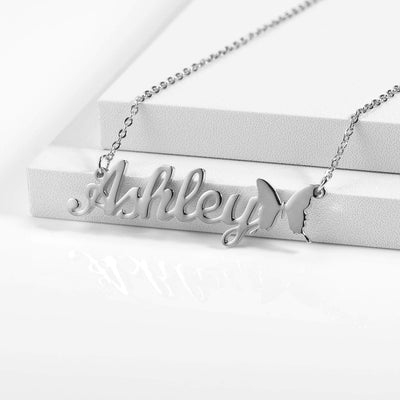 Encoreusa Custom text Gold Butterfly Name Necklace