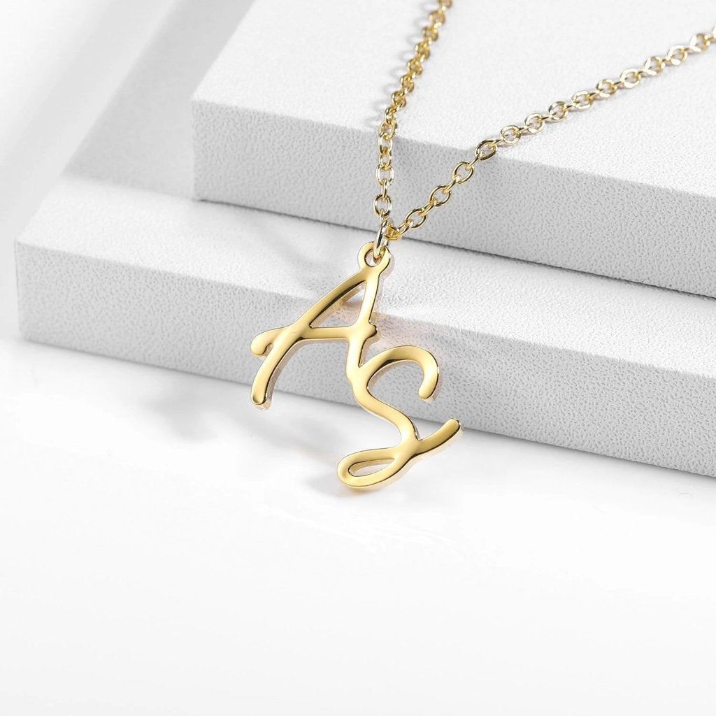 Encoreusa Gold Monogram Necklace