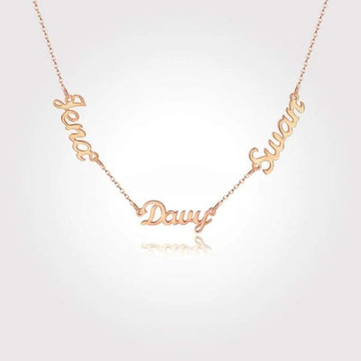 "Encoreusa Gold / 3 Names / 16"" 40cm Triple Threat Necklace"