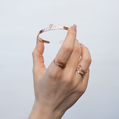 Encoreusa Custom text Rose Gold Athena's Bangle