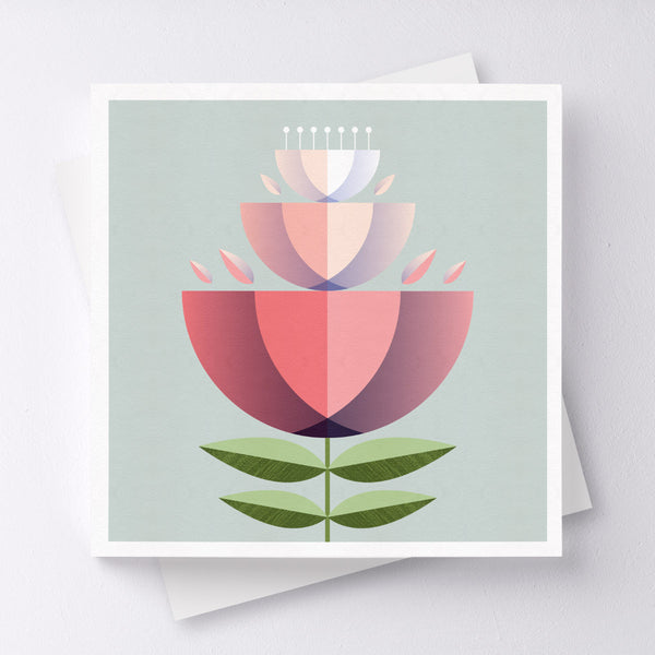 Hip Hip Hooray Flower Greeting Card