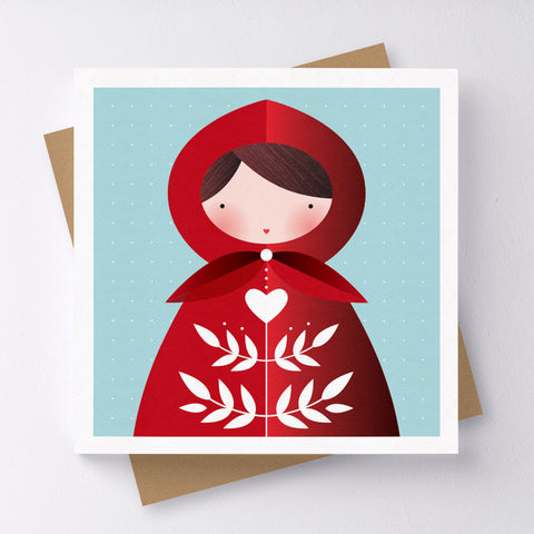 Little Red Girl Mini Greeting Card