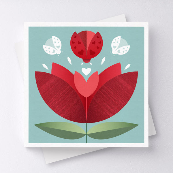Love Bug Flower Greeting Card