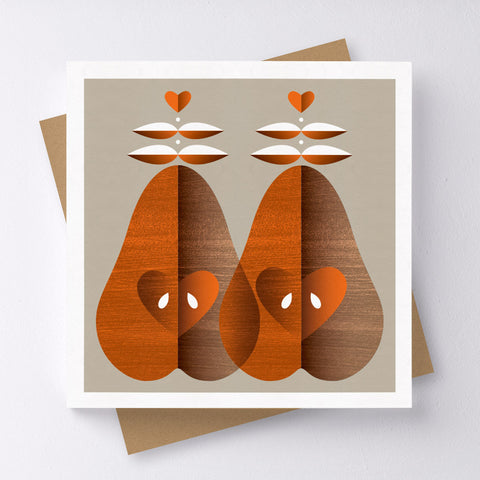 Pear Pair Mini Greeting Card
