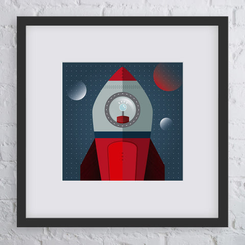 Blast Off Rocket Art Print