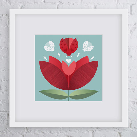 Love Bug Flower Art Print