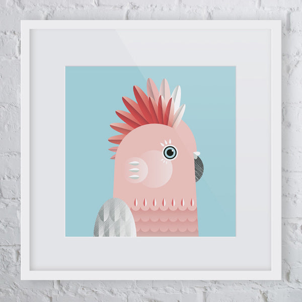 Pretty in Pink Galah Bird Art Print