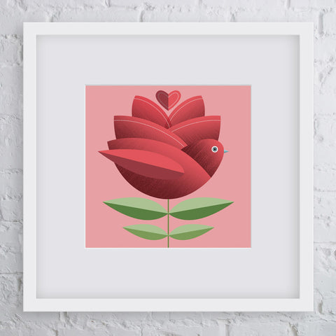 Rose Bird Flower Art Print