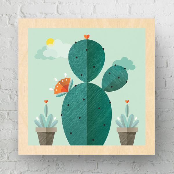 Survivor Cactus Medium Wood Art Print