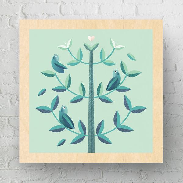 Bird Tree Medium Wood Art Print