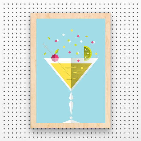 Mini Chin Chin Cocktail Wood Art Print