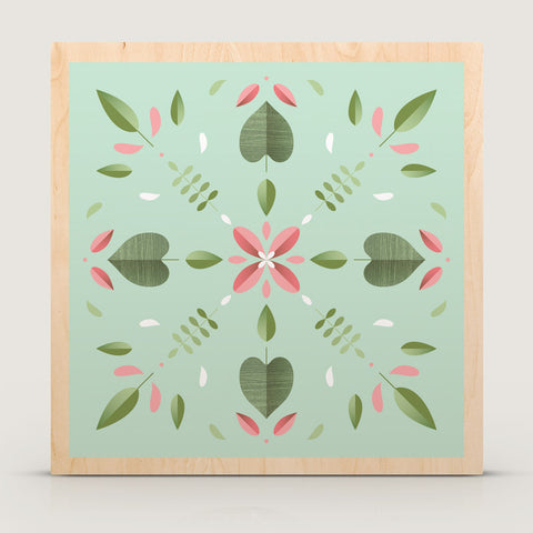 Kaleidoscope Flower Wood Block Print