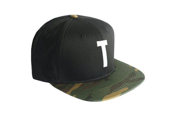 Black & Camo Snapback Baseball Hat with personalized Letter T