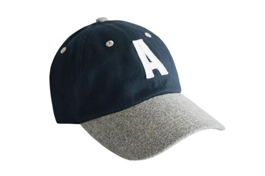 Navy & Grey Colorblock Hat with grey eyelets and white letter A
