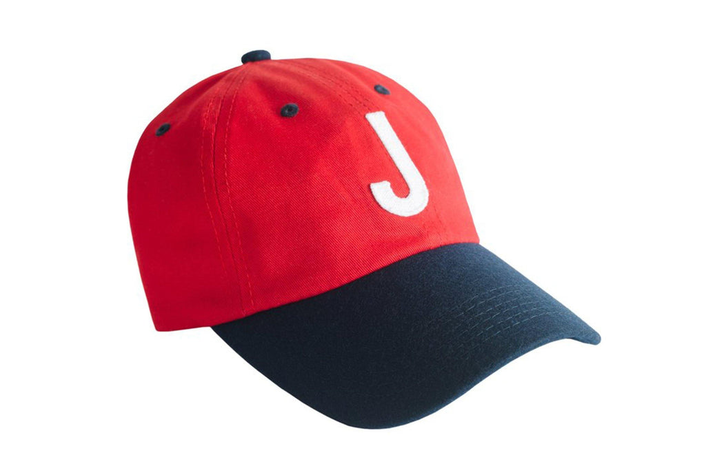 Red & Navy Colorblock Hat with white letter J