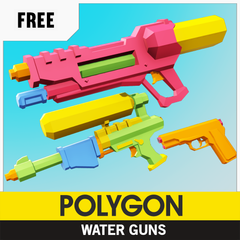 Free Low-Poly 3D Asset from Synty Studios, Water Guns