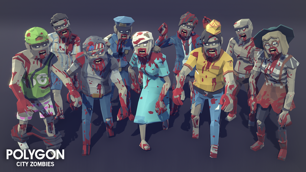 POLYGON - City Zombies Pack - Synty Studios - Unity and Unreal 3D low poly assets for game development