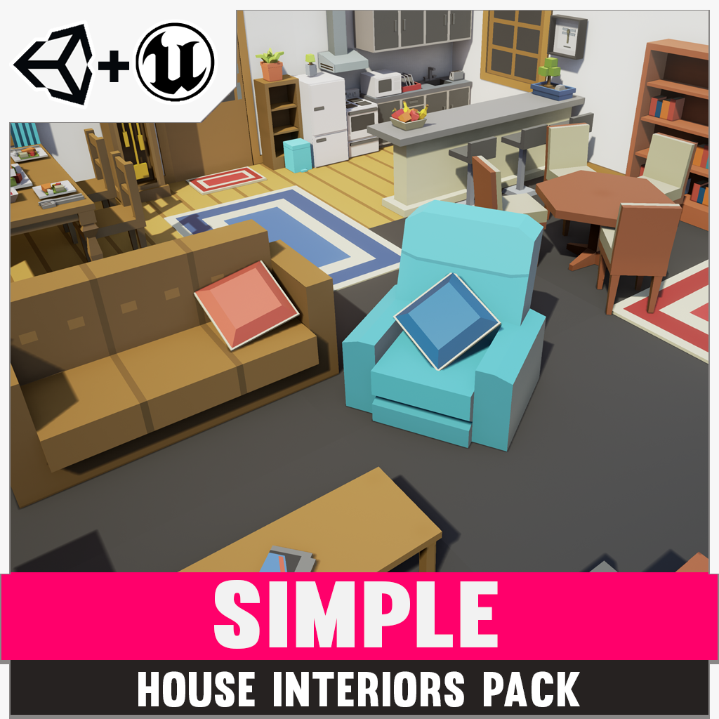 Simple House Interiors - Cartoon assets - Synty Studios - Unity and Unreal 3D low poly assets for game development