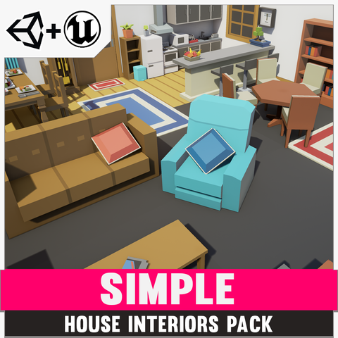 Simple House Interiors - Cartoon assets - synty-store