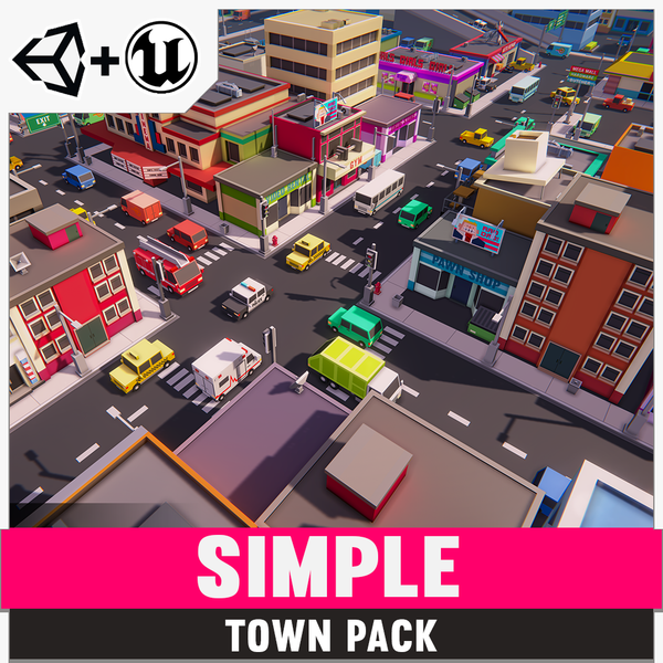 Simple Town - Cartoon Assets - Synty Studios - Unity and Unreal 3D low poly assets for game development