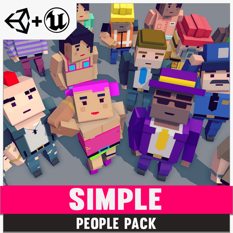 Simple People - Cartoon Assets - Synty Studios - Unity and Unreal 3D low poly assets for game development