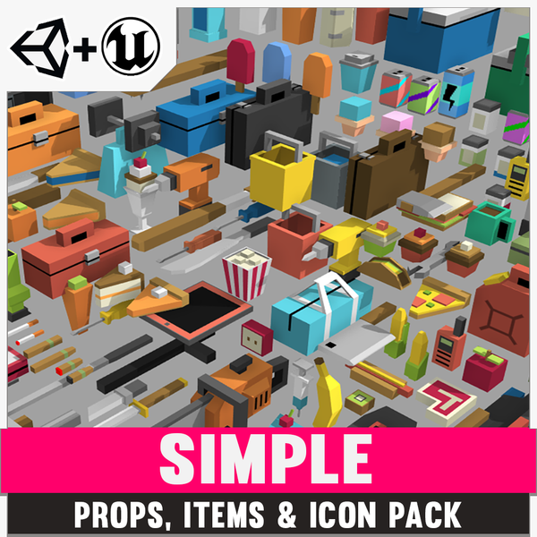 Simple Props/Items/Icons - Cartoon Assets - Synty Studios - Unity and Unreal 3D low poly assets for game development