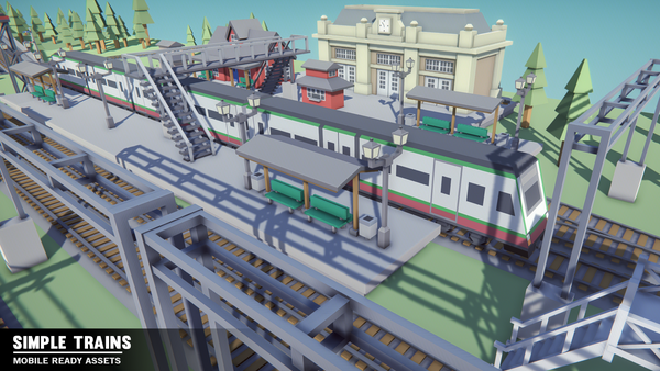 Simple Trains - Cartoon Assets - Synty Studios - Unity and Unreal 3D low poly assets for game development