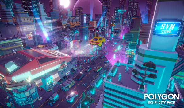 POLYGON - Sci-Fi City Pack - Synty Studios - Unity and Unreal 3D low poly assets for game development