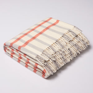 Superfine Throw Rug - Mini Grid in  Natural, Pewter and Terracotta