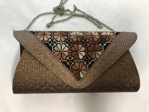 Brown Cross Stitched Purse with Metal Shoulder Strap