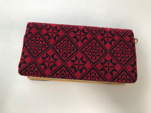Red Cross Stitched Purse Wallet Size