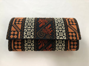 Multiple Brown Patterns Cross Stitched Purse Wallet Size