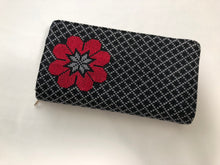 Load image into Gallery viewer, Black with Red Flower Cross Stitched Purse Wallet Size