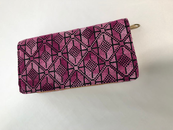 Violet Cross Stitched Purse Wallet Size
