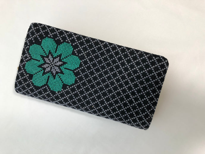 Black with Turquoise Flower Cross Stitched Purse Wallet Size