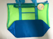 Load image into Gallery viewer, Large Two-Tone Mesh Tote Bag-Blue with Green