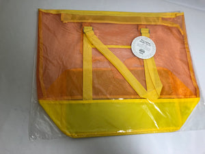Large Two-Tone Mesh Tote Bag-Yellow