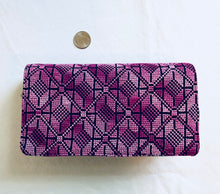 Load image into Gallery viewer, Violet Cross Stitched Purse Wallet Size