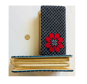 Black with Red Flower Cross Stitched Purse Wallet Size