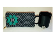 Load image into Gallery viewer, Black with Turquoise Flower Cross Stitched Purse Wallet Size
