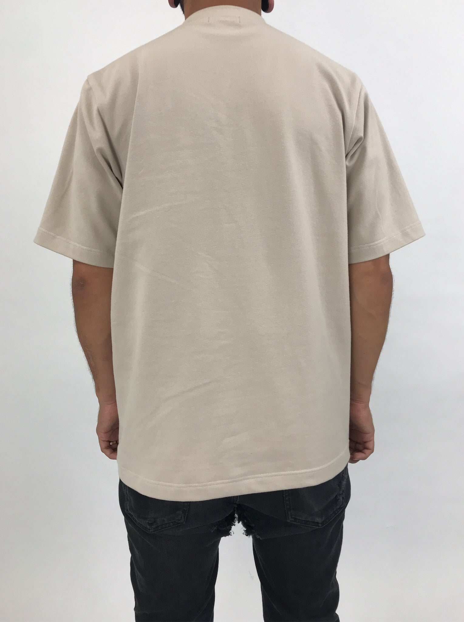 Sand beige tee shirt made with organic cotton portland oregon