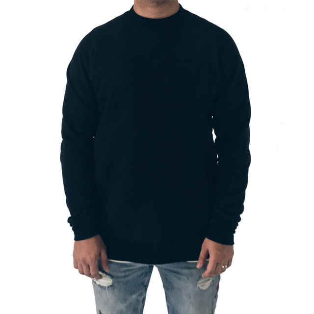 Black raglan sleeve crewneck sweatshirt gusset elbows