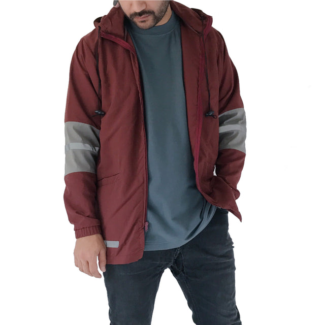 maroon red zip up windbreaker 3M reflector detail with hood