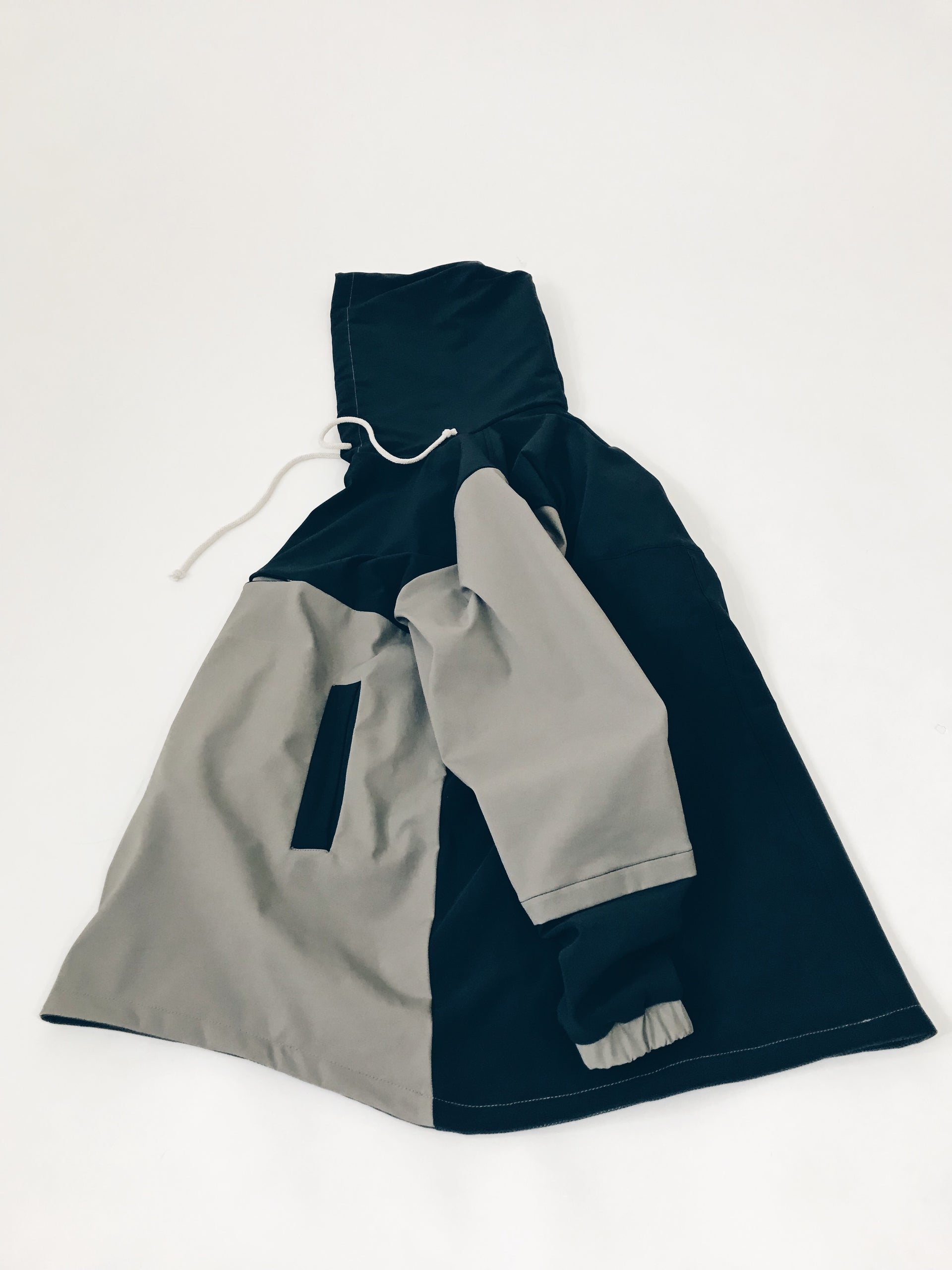 two tone back and grey wind water resistant jacket invisible chest pocket internal kangaroo pouch lined