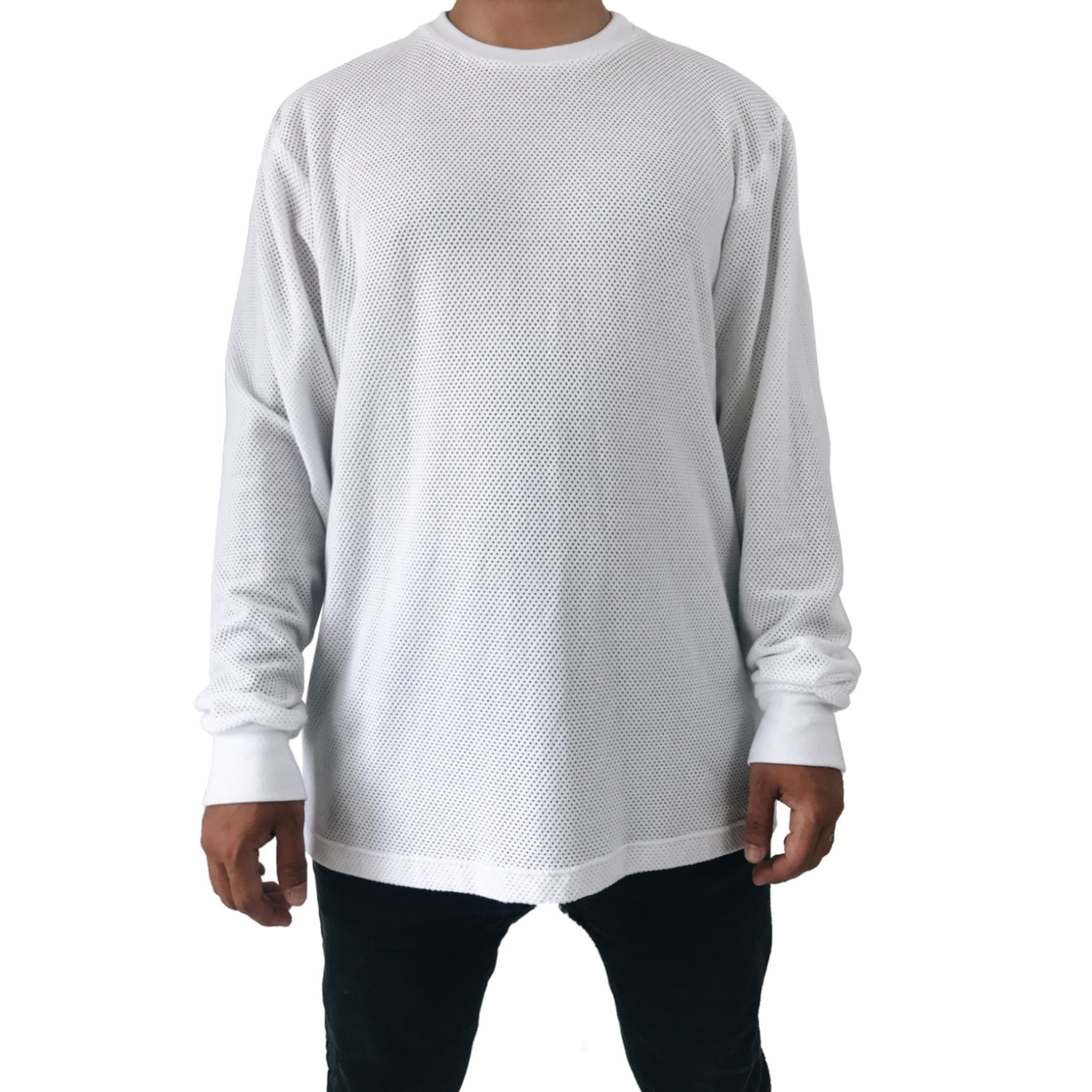 white cotton mesh longsleeve tee shirt